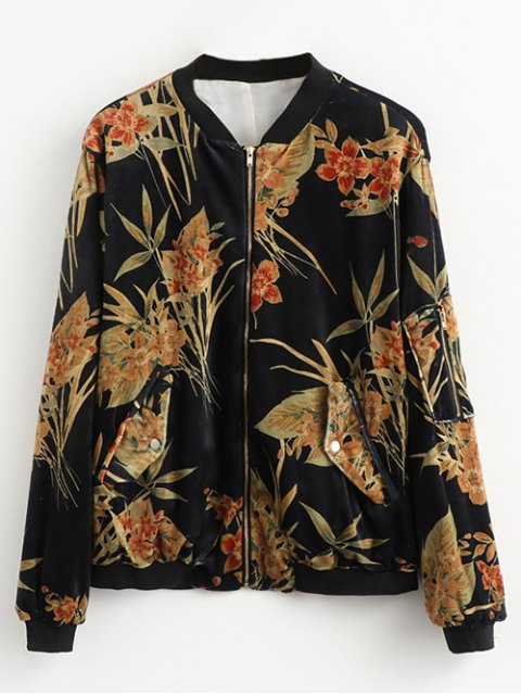 womens Printed Corduroy Bomber Jacket - BLACK M Mobile