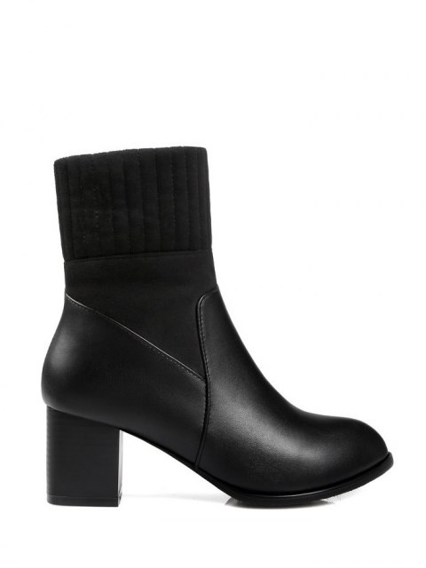 women's Suede Panel Chunky Heel Boots - BLACK 39 Mobile