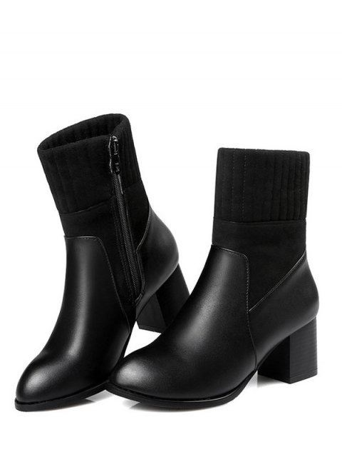 best Suede Panel Chunky Heel Boots - BLACK 38 Mobile