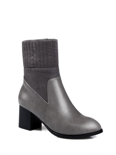 new Suede Panel Chunky Heel Boots - GRAY 39 Mobile