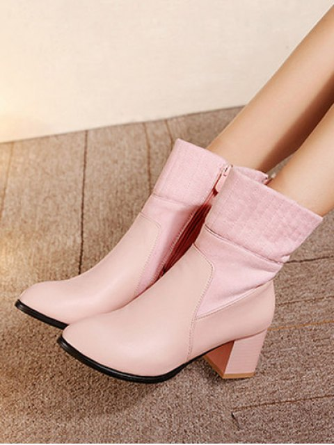 trendy Suede Panel Chunky Heel Boots - PINK 38 Mobile