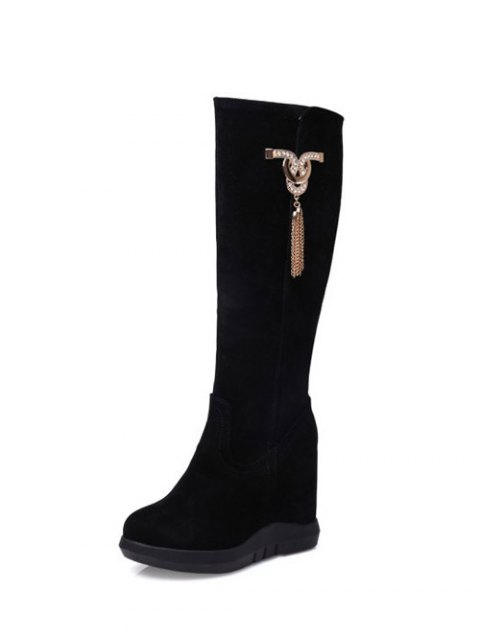 fashion Rhinestone Metal Tassel Hidden Wedge Boots - BLACK 39 Mobile