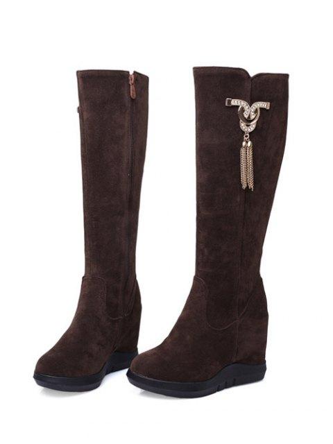 best Rhinestone Metal Tassel Hidden Wedge Boots - DEEP BROWN 38 Mobile