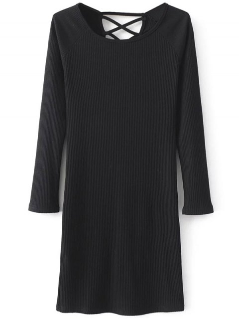 affordable Strappy Long Sleeve Ribbed Sweater Dress - BLACK M Mobile