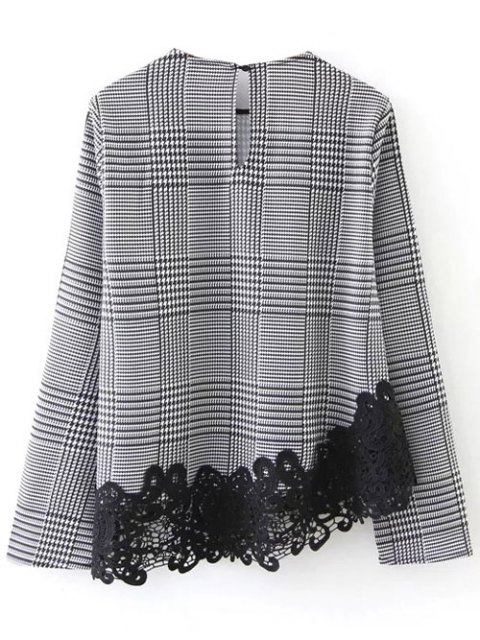 unique Houndstooth Lace Panel Blouse - WHITE AND BLACK S Mobile
