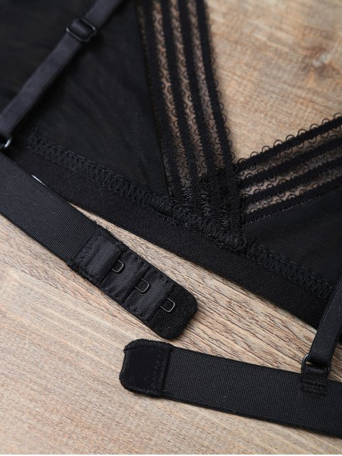 women Push Up Adjustable Straps Swim Top - BLACK M Mobile
