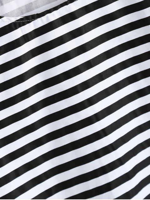 trendy Ruffles Round Neck Striped T-Shirt - STRIPE 2XL Mobile