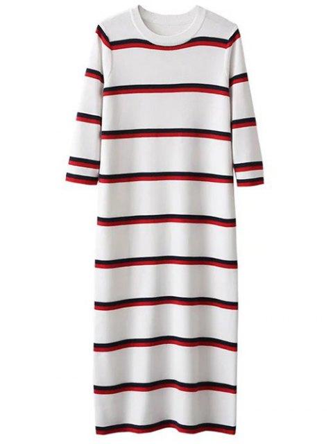 trendy Crew Neck Striped Jumper Dress - WHITE ONE SIZE Mobile