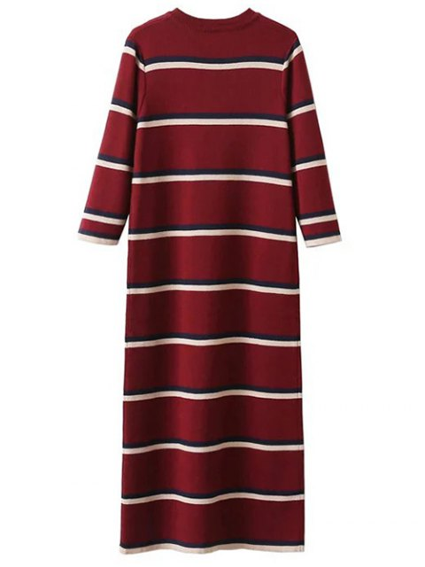 fashion Crew Neck Striped Jumper Dress - BURGUNDY ONE SIZE Mobile