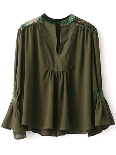 buy Embroidered Velvet Panel Blouse - ARMY GREEN S Mobile