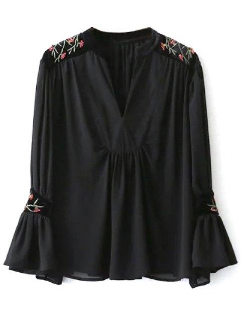 women's Embroidered Velvet Panel Blouse - BLACK S Mobile