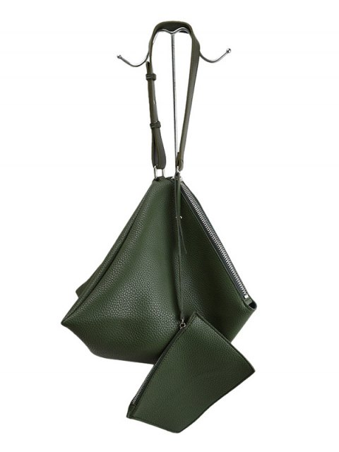 new Triangle Shaped Textured Shoulder Bag - GREEN  Mobile
