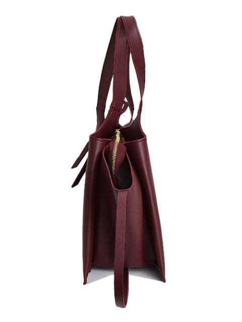 outfits Straps PU Leather Winged Handbag - CLARET  Mobile