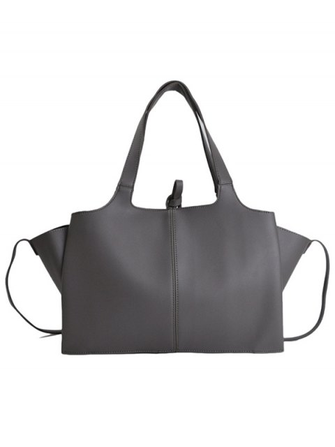 shops Straps PU Leather Winged Handbag - GRAY  Mobile