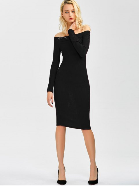 womens Off Shoulder Bodycon Long Sleeve Dress - BLACK L Mobile