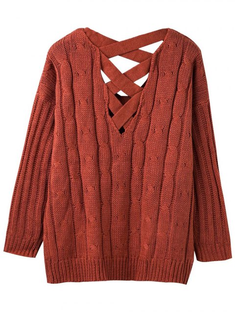 sale Cable Knit V Neck Chunky Sweater - SPICE ONE SIZE Mobile