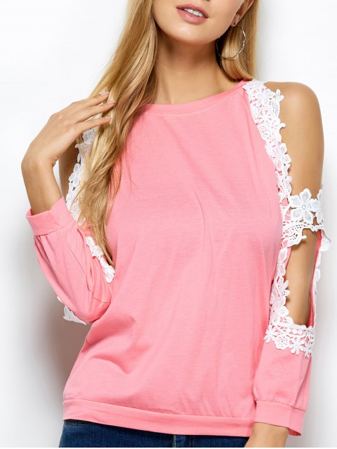 shops Cold Shoulder Lace Splicing T-Shirt - PINK S Mobile