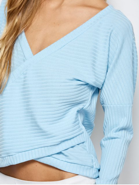 affordable Plunging Neck Wrap T-Shirt - LIGHT BLUE S Mobile
