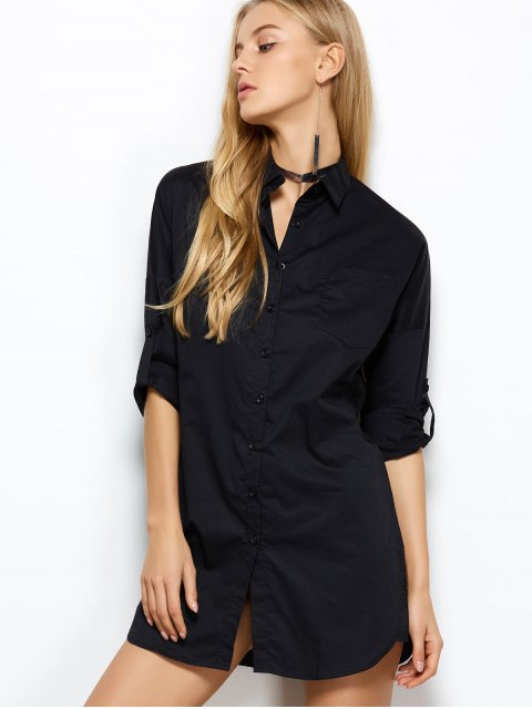 affordable Long Sleeve Boyfriend Pocket Shirt - BLACK S Mobile