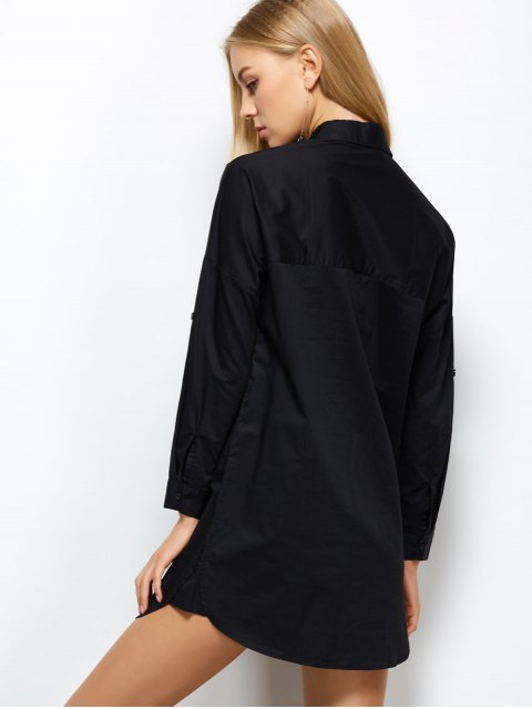 womens Long Sleeve Boyfriend Pocket Shirt - BLACK 2XL Mobile
