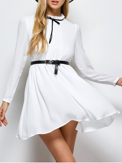 women Ruff Collar Pleated Chiffon Dress - WHITE XL Mobile