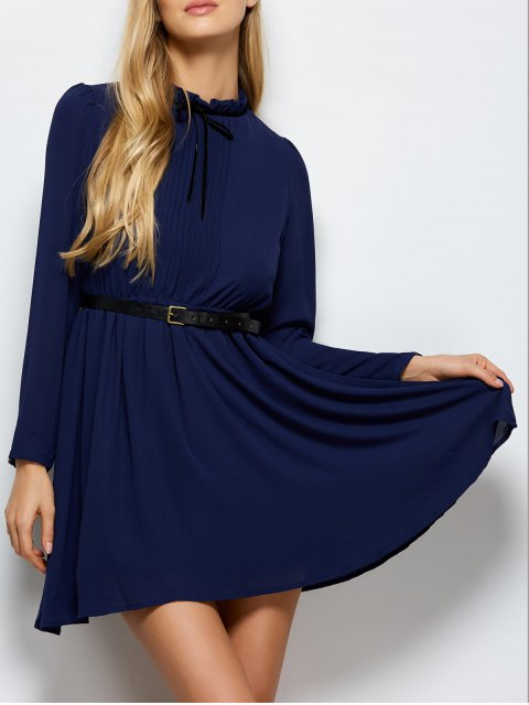 new Ruff Collar Pleated Chiffon Dress - DEEP BLUE XL Mobile