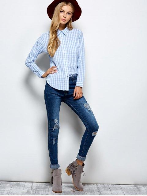 trendy Checked Boyfriend Pocket Shirt - PLAID M Mobile