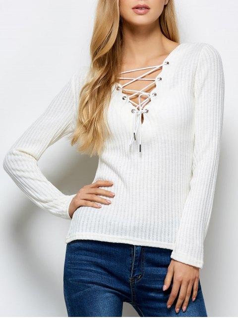 online Ribbed Knit Lace Up Jumper - BEIGE S Mobile