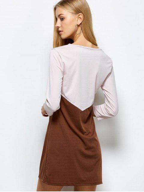 ladies Two Tone Panel Dress - COFFEE WITH KHAKI L Mobile