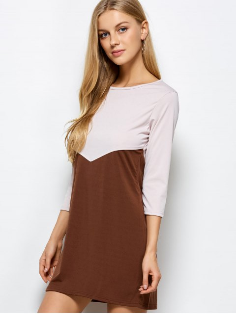 lady Two Tone Panel Dress - COFFEE WITH KHAKI M Mobile