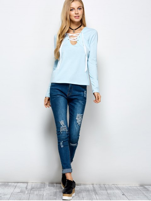trendy Long Sleeves Lace Up Tee - LIGHT BLUE L Mobile