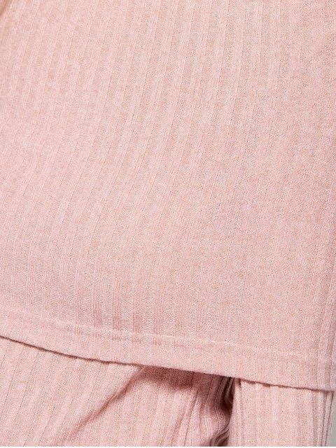 sale Foldover Off The Shoulder Jumper - LIGHT APRICOT PINK M Mobile