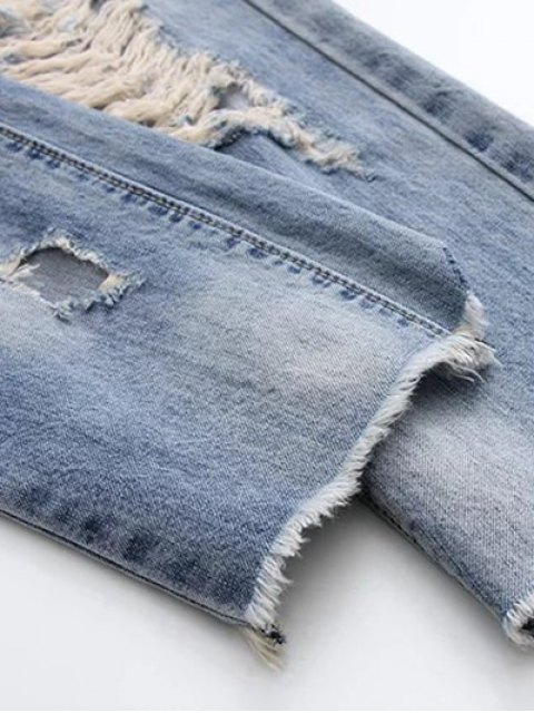 shops Ripped Skirted Jeans - DENIM BLUE L Mobile