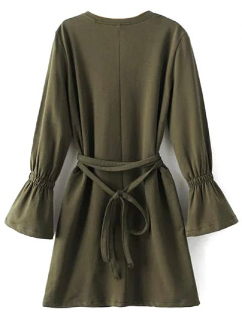 new Flare Sleeve Round Neck Self Tie Dress - ARMY GREEN S Mobile