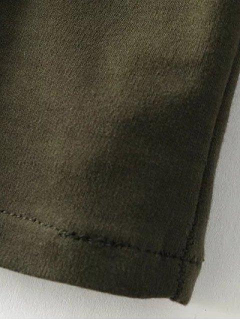hot Flare Sleeve Round Neck Self Tie Dress - BLACK L Mobile