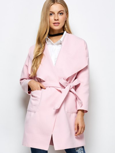 Wrap Woolen Coat With Pockets - PINK XL Mobile