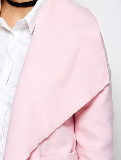 Wrap Woolen Coat With Pockets - PINK M Mobile