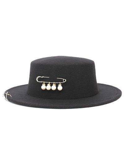 Circle Hoop Faux Pearl Embellished Hat - BLACK  Mobile
