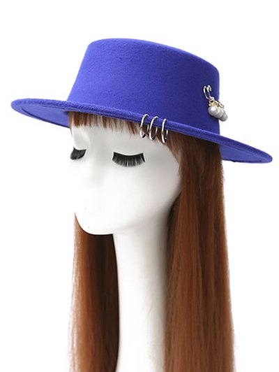 Circle Hoop Faux Pearl Embellished Hat - ROYAL  Mobile