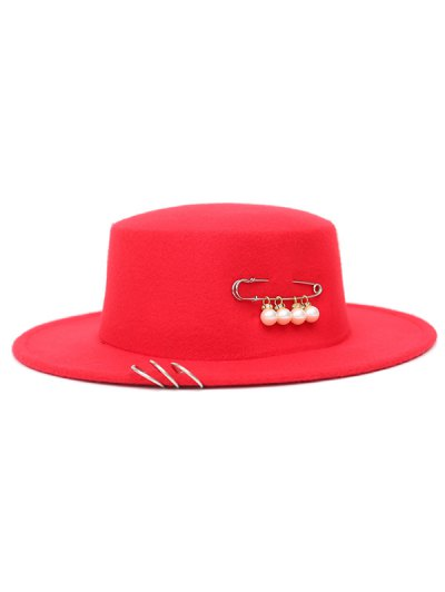 Circle Hoop Faux Pearl Embellished Hat - RED  Mobile