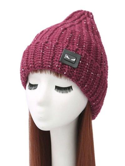 Demon Label Flanging Knit Hat - WINE RED  Mobile