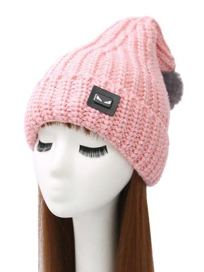 Demon Label Flanging Knit Hat - PINK  Mobile