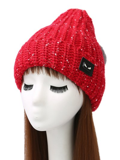 Demon Label Flanging Knit Hat - BRIGHT RED  Mobile