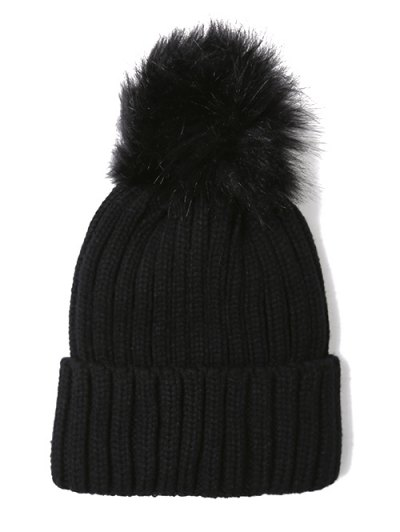 Flanging Pom Ball Knitted Beanie - BLACK  Mobile