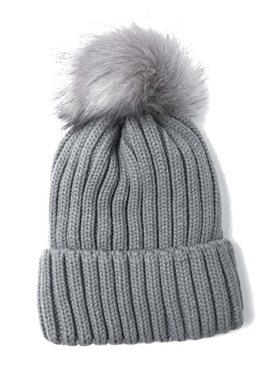 Flanging Pom Ball Knitted Beanie - GRAY  Mobile