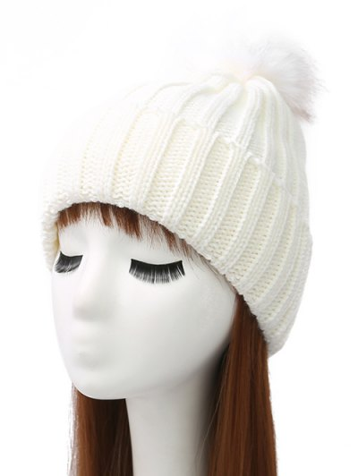 Flanging Pom Ball Knitted Beanie - WHITE  Mobile