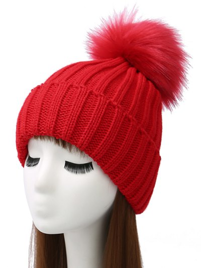 Flanging Pom Ball Knitted Beanie - RED  Mobile