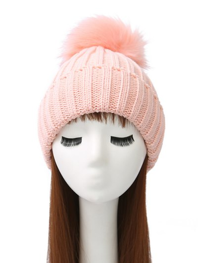 Flanging Pom Ball Knitted Beanie - PINK  Mobile