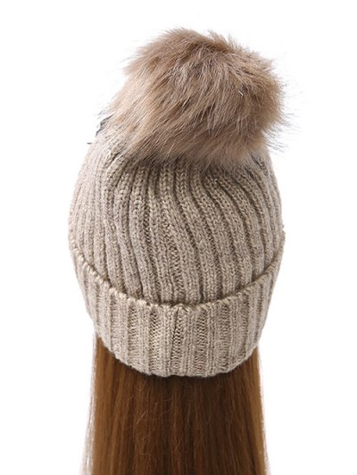 Chain Letter Embellished Pom Hat - CAMEL  Mobile