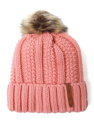 Striped Pom Ball Knitted Beanie - PINK  Mobile